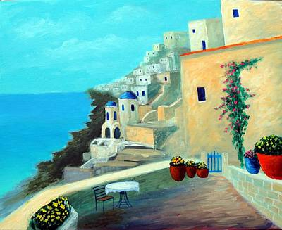 Poster featuring the painting Up High On The Mediterranean by Larry Cirigliano