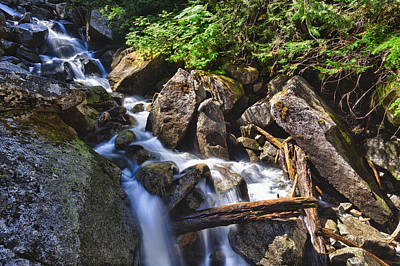 Upper Cascades Of Malchite Creek Poster by A A