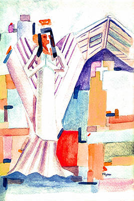 Poster featuring the painting Urban Angel Of Light by Paula Ayers