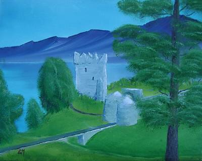 Poster featuring the painting Urquhart Castle by Charles and Melisa Morrison