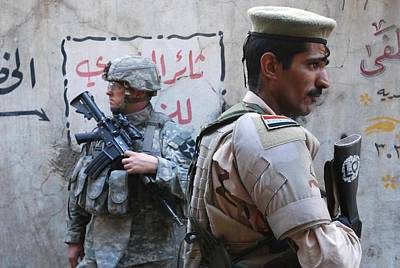 Us And Iraqi Army Soldiers Stand Guard Poster