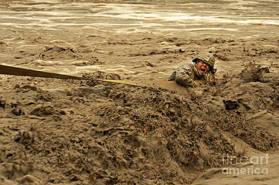 U.s. Army Soldier Fights Racing Water Poster