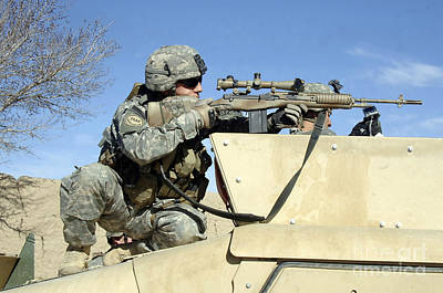 U.s. Army Soldier Looking Poster by Stocktrek Images