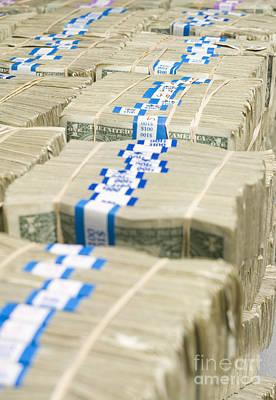 Us Dollar Bills In Bundles Poster