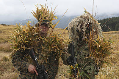 U.s. Marine And Japanese Sniper Await Poster