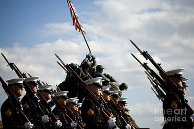 U.s. Marines March Past The Marine Poster