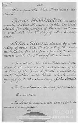 Us Senate Journal, 1794 Poster by Photo Researchers