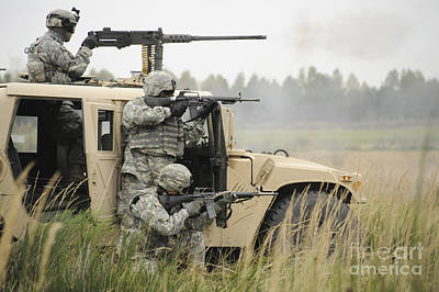 U.s. Soldiers Perform A Platoon Mounted Poster by Stocktrek Images