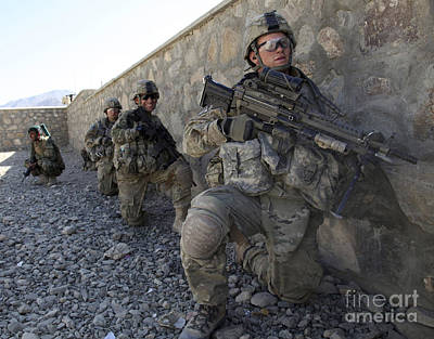 U.s. Soldiers Wait For The Order Poster by Stocktrek Images