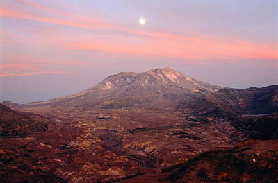 Usa, Washington, Moonrise Over Mount St Helens At Sunset Poster by Chuck Pefley