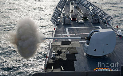 Uss Cape St. George Fires Its Mk-45 Poster by Stocktrek Images