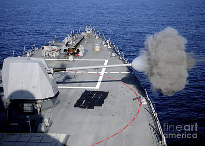 Uss Halsey Fires Its Mk-45 Poster by Stocktrek Images