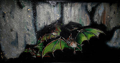 Poster featuring the painting Vampire Bats  by Nada Meeks