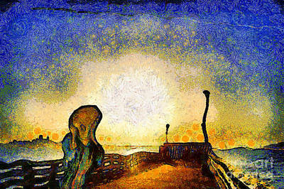 Van Gogh Screams On The Berkeley Pier Under A Starry Night . Img3188 Poster by Wingsdomain Art and Photography