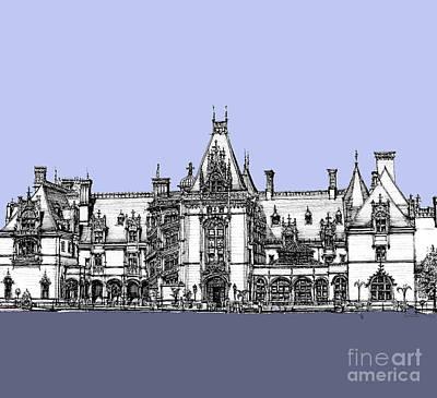 Vanderbilt's Biltmore Estate In Blue  Poster by Building  Art