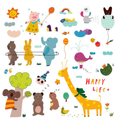 Various Animals Poster by Eastnine Inc.
