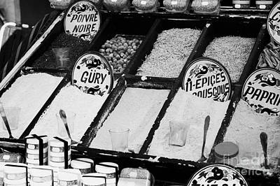 Various Spices Including Curry Black Pepper Couscous And Papricka On Stall At The Market In Nabeul Poster by Joe Fox