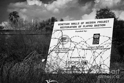 venetian walls restoration project in the UN buffer zone in the green line dividing nicosia cyprus Poster by Joe Fox