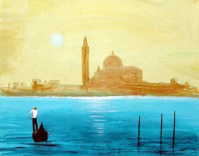 Poster featuring the painting Venice Sunset by Larry Cirigliano
