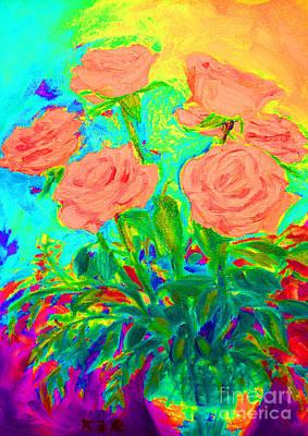 Vibrant Roses Poster by Karen Francis