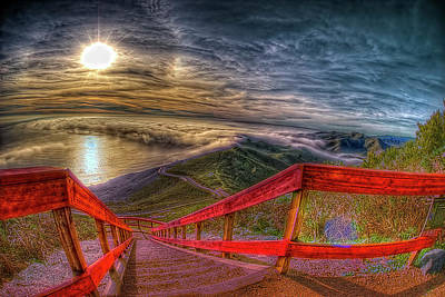View Of Sun Into Sea At Marin Headlands Poster by Image by Sean Foster