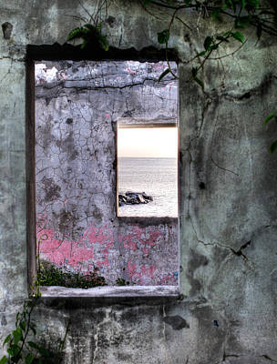 View Of The Sea Through Two Windows Poster
