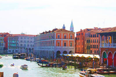 View Of Venice's Market Poster