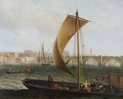 View On The Thames With Westminster Bridge Poster by Samuel Scott