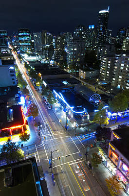 View On Vancouver By Night Poster