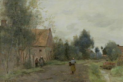 Village Street In The Morning Poster by Jean Baptiste Camille Corot