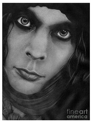 Ville Valo 10 Pencil Drawing Poster by Debbie Engel