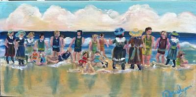 Vintage Bathers Poster by Doralynn Lowe