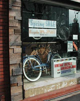 Vintage Bicycle And American Junk  Poster by Anna Ruzsan