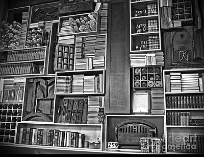Poster featuring the photograph Vintage Bookcase Art Prints by Valerie Garner