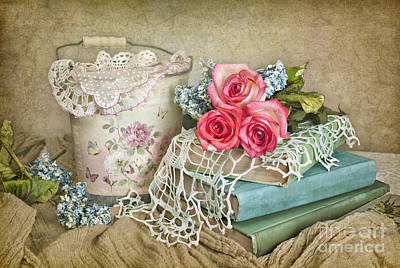 Vintage Books And Roses Poster by Cheryl Davis