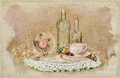 Vintage Bottles And Teacup Still-life Poster by Cheryl Davis
