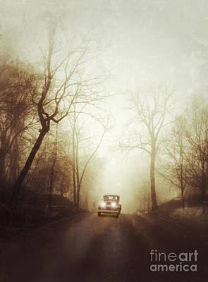 Vintage Car On Foggy Rural Road Poster
