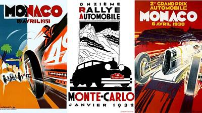 Vintage Monte Carlo Racing Posters Poster