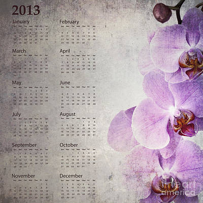 Vintage Orchid Calendar 2013 Poster by Jane Rix