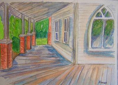 Poster featuring the painting Vintage Porch With Gothic Window by Belinda Lawson