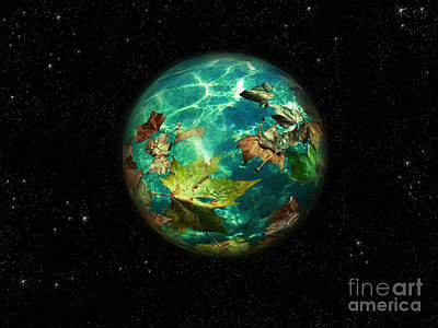 Poster featuring the digital art Viriditas World by Rosa Cobos