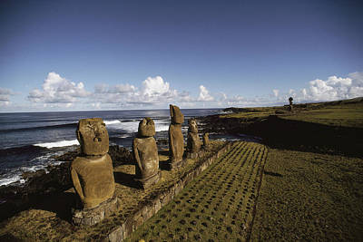 Volcanic Rock Statues, Called Moai Poster
