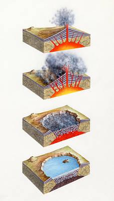 Volcano Caldera Formation Poster by Gary Hincks