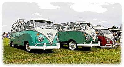Volkswagen Bus Row Poster by Steve McKinzie
