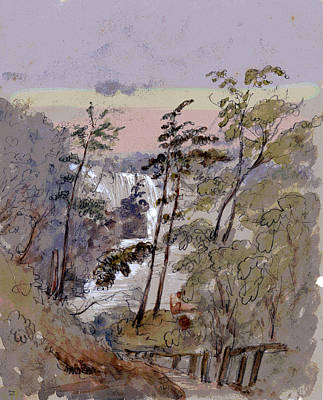 Walk To The Falls Poster by Charles Shoup