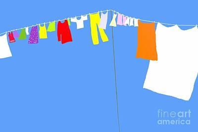 Poster featuring the digital art Washing Line Simplified Edition by Barbara Moignard