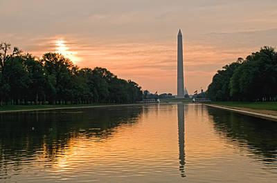 Washington Monument At Dawn Poster by Jim Moore