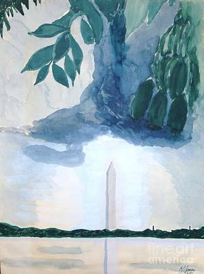 Poster featuring the painting Washington Monument by Rod Ismay