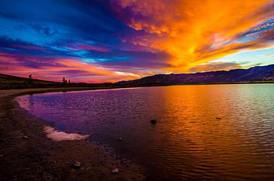Washoe Lake Nevada Sunset Poster