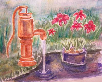 Poster featuring the painting Water Pump by Belinda Lawson